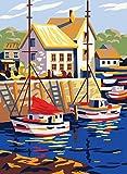 Collection d'Art Imprimé Tapisserie Toile Bateaux en Petit Port