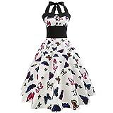 VEMOW Elegante Damen Damen Vintage Bodycon Sleeveless Halter beiläufige Tanzabend Party Prom Brautjungfern Swing Dress Faltenrock Cocktailkleid(X3-b-Rosa, EU-36/CN-S)