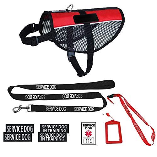 Dogline Service Hundegeschirr Set (offizielles rot) - Reflektierende Leine und Patches für Servicehund im Trainingsset - Servicehund mit Halterung und Umhängeband für Reisen, Fits Girth 30-38