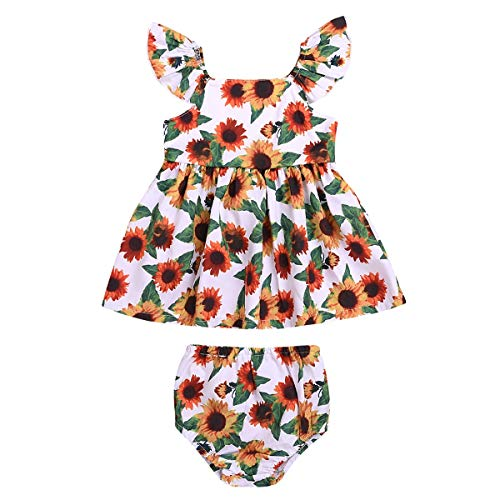 Puseky 2 teile/satz Kinder Infant Girl Floral Sonnenblume Sleeveless Swing Top + Shorts Set (Color : As Shown, Size : 12-18M) Floral Swing Set