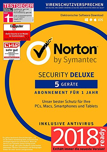 Norton Security Deluxe 2018   5 Geräte   1 Jahr   Windows/Mac/Android/iOS  Versand in frustfreier Verpackung  Inklusive MH-Imperial Kundensupport