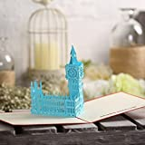 [Actasy Tech] 3D Creative Paper Card With Envelope Big Ben London The Kirigami Papercraft 3D Pop Up Anniversary Baby Birthday Mother's Day Valentine's Wedding Greeting Invitation Cut Art (Blue)