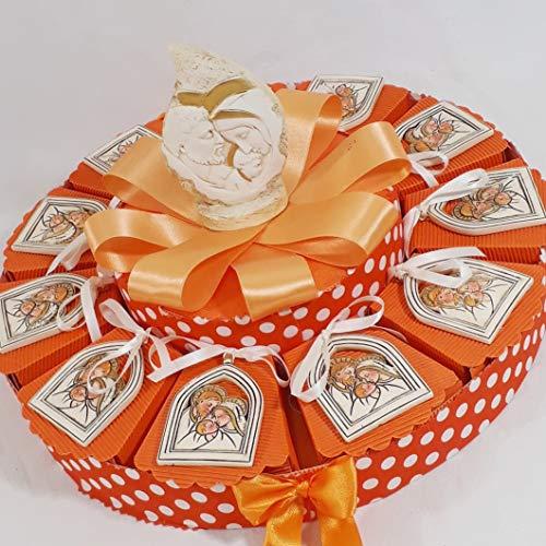 Torta bomboniere icone sacre santa cresima e sacra famiglia per ragazzo e ragazza (torta da 11 fette con pendenti quadretto sacra famiglia)
