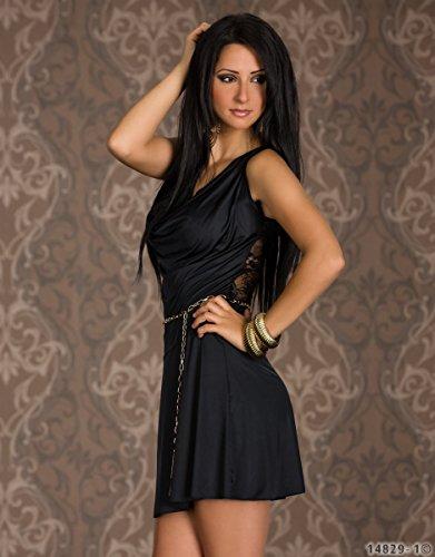 4684 Fashion4Young Minikleid Damen Kleid Stretch Wasserfallausschnitt Spitze  im Rücken dress Schwarz