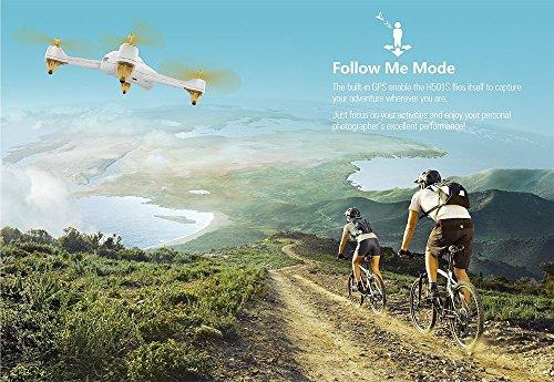Hubsan H501S X4 Brushless FPV GPS Quadrocopter 5.8 Ghz Drohne mit 1080P Full HD Kamera und Follow-Me Modus RTH-Funktion Weiß&Gold - 5