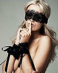 Idea Regalo - Maschera sexy con manette in stoffa, oggetto provocante lingerie per donna
