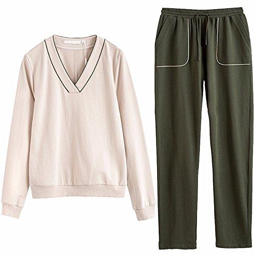 in autunno, signore di puro cotone amanti a maniche lunghe pigiama completo xl