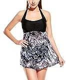 Feoya - Bañador para Mujer Push-Up Traje de 2 Piezas Cuello Halter Vestido de Baño Estampado Bohemia sin Espalda Swimsuit para Playa - Negro - Talla EU 48