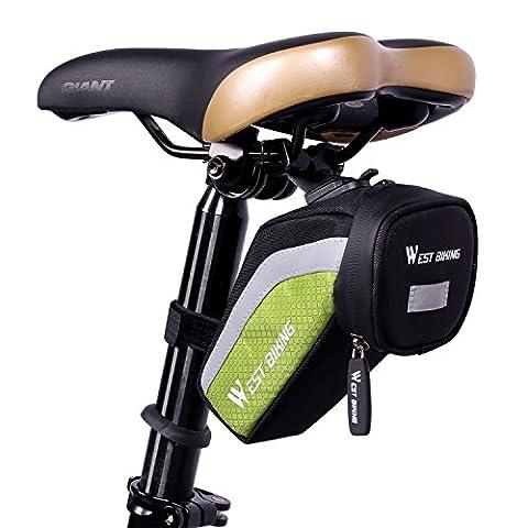 West Radfahren Bike Sitz Tasche Upgrade Haken Wasserdicht Schwanz Tasche Fahrrad Sattel Tasche unter dem Sitz Packungen (3colors), Herren Kinder damen, grün