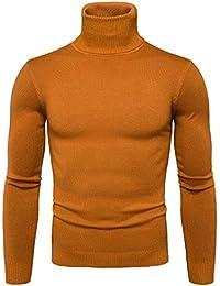 Pulls Basique Homme Pull à Col Roulé Chaud Pull en Maille Uni Jumper  Manches Longues Chandails Casual Sweatshirt… dcad8d6c422f