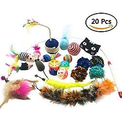 Yangbaga 20 piezas Juguetes para Gatos Juguetes Interactivo Ratón y Bolas Varias con Campanas y Plumas, Cabezas de Repuesto y Catnip Ball incluido Regalo de Navidad para Gatito Gato