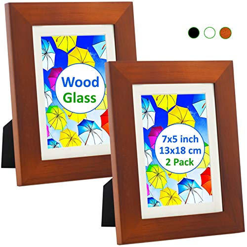Bilderrahmen 13x18 Holz (2 Set) - Bilderrahmen mit Glasabdeckung - Rahmen für 13x18 cm Fotos ohne Passepartout oder 10x15 cm und 8x13 cm Fotos mit Passepartout - Hängend oder Stehend, Braun (Bilderrahmen, 10x8)