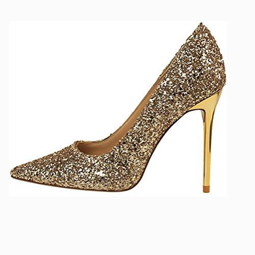 L'Europe et les chaussures de vent États-Unis fines avec la bouche à talon haut pointu talons hauts sequins gold