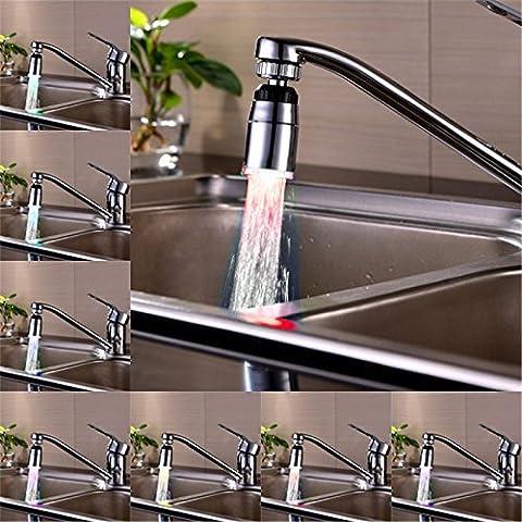 Generic Weiß: 360Grad Wasserhahn Light LED 7Farben wechseln Glow Shower Stream Wasserhahn Universal-Adapter Externe links Schraube