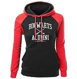 Hogwarts Alumni Brief drucken Women's Raglan Sweatshirt Herbst Winter Fleece Hoody Marke Kleidung Mode Pullover rot schwarz L