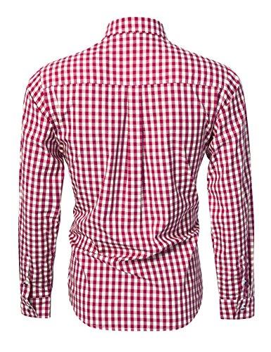 KoJooin TRACHTEN Herren Hemd Trachtenhemd Langarmhemd Freizeithemd Baumwolle - für Oktoberfest, Business, Freizeit (Rot XL) - 2