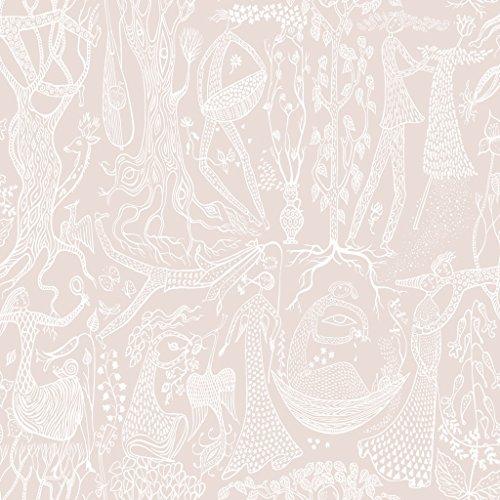 Stig Lindberg 1764 Vliestapete romantisches Motiv Menschen Tiere Natur weiß auf rosé