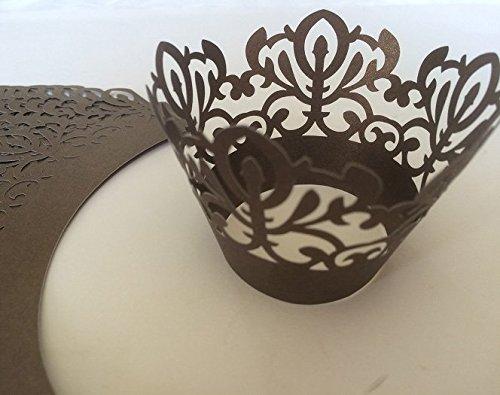 24 x braun CUPCAKE WRAPPER Manschetten Verpackung Deko Muffin Hüllen Hochzeit Backförmchen Party W3