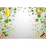 Cassisy 2,2x1,5m Vinilo Cumpleaños Telon de Fondo Trébol Sombrero de Carnaval Confetti