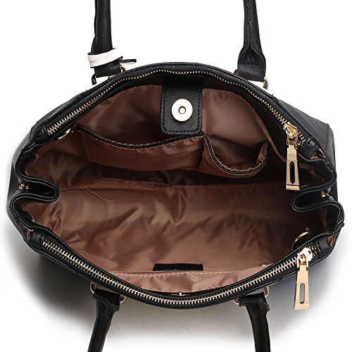 Miss Lulu-Borsa a spalla da donna, in stile borsetta V Patchwork con Zip e due tasche interne e uno Strap 1643 Black