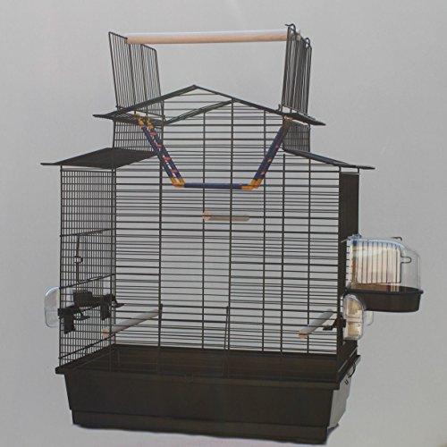 Schwarzer Vogelkäfig IZA III Cabrio Wellensittichkäfig,Exotenkäfig,Vogelkäfig Vogelbauer Wellensittich Kanarien Voliere Vogelhaus Käfig incl. Badehaus und Trinkröhrchen …