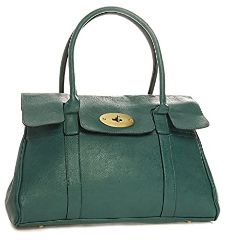 Big Handbag Shop Womens Faux Leather Designer Boutique Turnlock Shoulder Bag (Teal Blue)