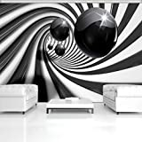 FORWALL Fototapete Tapete 3D Schwarz Weisser Tunnel P8 (368cm. x 254cm.) Photo Wallpaper Mural AMF3065P8 Gratis Wandaufkleber Abstraktion Wirbel Weiss Schwarz Ziegel Kugeln