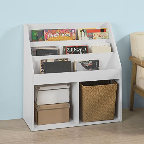 SoBuy KMB01-W Bücherregal für Kinder Zeitungsständer Aufbewahrungsregal mit 3 Ablagefächern und 2 Offenen Fächern, BHT ca.: 73x80x30cm ('w Bücherregal)