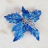Glitzer-Weihnachtsstern, Kunstblume, hohl, für Hochzeit, Party, Weihnachten, Weihnachtsbaumschmuck, von Alkyoneus  blau