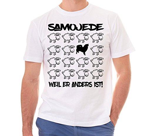 Siviwonder Unisex T-Shirt BLACK SHEEP - SAMOJEDE Hund - Hunde Fun Schaf Weiß