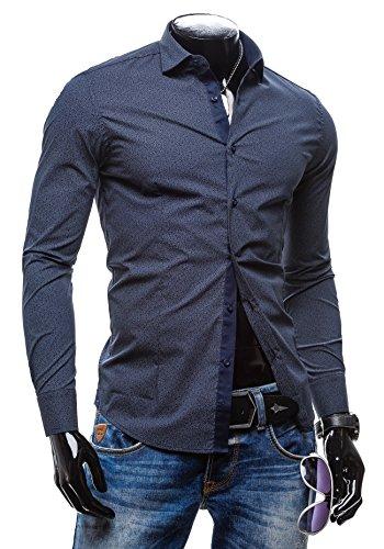 BOLF Langarm Herrenhemd Hemd Figurbetont Freizeit Slim Fit NEW MEN 7182 Dunkelblau