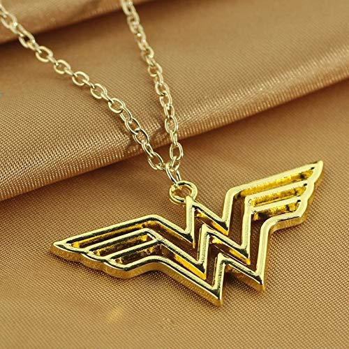VAWAA Dc Superhero Wonder Woman Necklace Golden Super Hero Supergirl Logo Pendant Necklace for Women Charm Accessoires