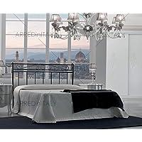 ARREDinITALY Cama de Matrimonio de Hierro Color Blanco con pediera pregrabado para Red con Patas 160x 190cm. No Incluye–Producto Made IN Italy–arr044 - Muebles de Dormitorio precios