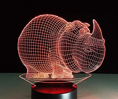 3D Illusion Lampe LED Nachtlicht 7 Farben Touch Rhino Lampe Farbe Visuelle Led Nachtlichter Kinder Touch Tabelle Baby Schlaf Nachtlicht Led Licht