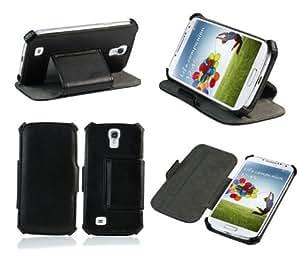 Ultra Slim Tasche Style Samsung Galaxy S4 i9500 Hülle Schwarz Cover mit Stand - Zubehör Etui Galaxy SIV Flip Case Schutzhülle ( Kunstleder , Schwarz)