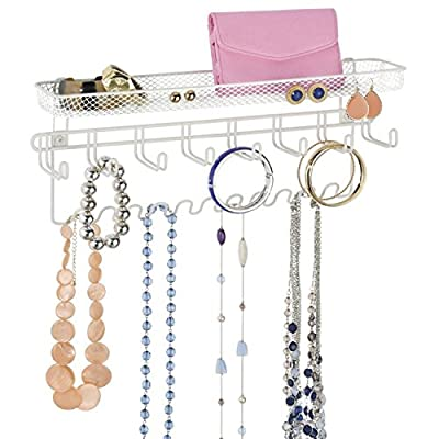 Taylor & Brown® Jewellery Organiser Holder, Mail & Key Rack, 19 Hook Wall Mounted Storage Shelf - Perfect for Jewellery, Accessories, Beauty Products, Mail, Keys, and Much More! produced by Taylor & Brown - quick delivery from UK.