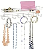 Taylor & Brown® Jewellery Organiser Holder, Mail & Key Rack, 19 Hook Wall Mounted Storage Shelf - Perfect for Jewellery, Accessories, Beauty Products, Mail, Keys, and Much More! (White)