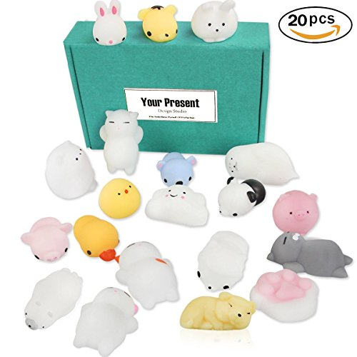 JER Soft Squishy Toys Squishy Animals Stress Toys for Relieving Stress Random Cat Seal Bear Pig, Pack of 20