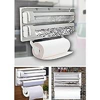 DIP Plastic Triple Tissue Paper Dispenser 4 in 1 Foil Cling Film Tissue Paper Roll Holder for Kitchen Triple Paper Roll…