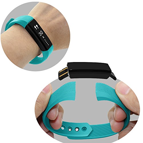 moreFit Slim Fitness Tracker Smart Fitness Bracelets Activity Pedometer Wristband Sleep Tracker Touch Screen Smartwatch for Android and IOS Smart Phones, Teal