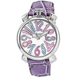 GaGa Milano Damen-Armbanduhr 40mm Armband Leder Rosa Gehäuse Edelstahl Batterie Analog 5020.7