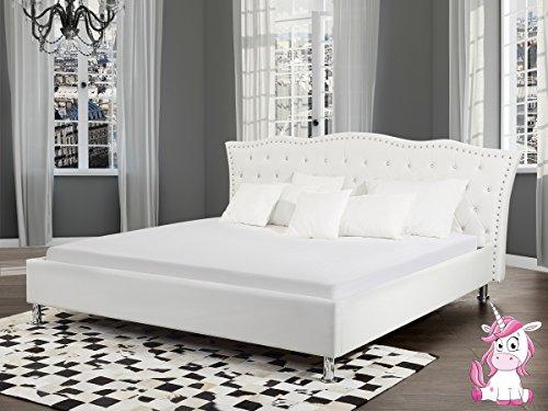 Designer Barock Leder Bett Unicorn / Einhorn WEISS mit Lattenrahmen Lattenrost optional mit Bettkasten / Stauraum Polsterbett traumhaftes Luxus Lederbett