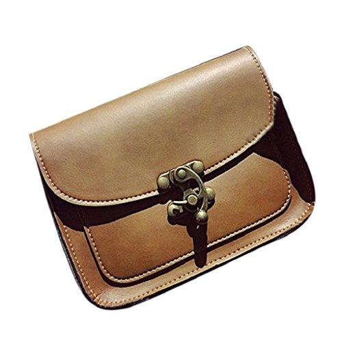 Kangrunmy Lnserire Blocco Borse Moda Tracolla sacchetto di svago Marrone