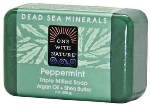 One With Nature Pain de savon exfoliant avec enveloppes de graines de chanvre - A base de sels minéraux de la Mer morte et beurre de karité - 200 g