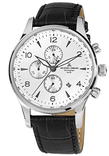 Jacques Lemans Herren Chronograph Quarz Uhr mit Leder Armband 1-1844ZB
