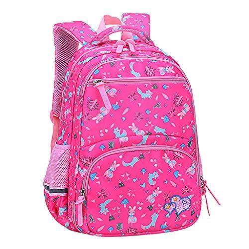 AIni Rucksack Kinder, Mädchen Mode Große Kapazität Wasserdicht und Lastreduzierend Karikatur Kinder Rucksack Kinderrucksäcke Rucksäck Pink-B