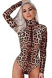 Zamtapary Damen Frauen Mit Langen Ärmel Zip Up Leopardenmuster Bodycon Overall Strampler Playsuit Jumpsuits Leopard M