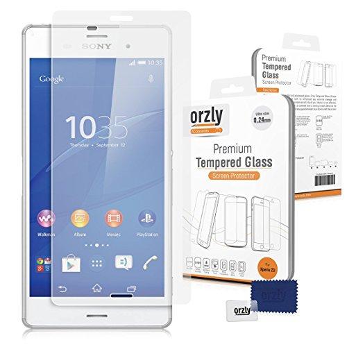 Orzly® - XPERIA Z3 Premium Hartglas Displayschutzfolie aus Gehärtetem Glas 0,24mm Tempered Glass Screen Protector für SONY XPERIA Z3 SmartPhone Modell / Voller Größe Handy Version von 2014 (Screen Protector Für Xperia Z3)