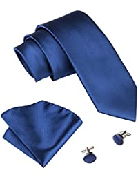 Barry.Wang Solid Ties Pocket Square Cufflinks Set Pure Color Neckties Formal Woven