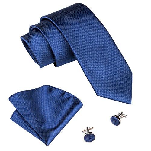Barry.Wang set con cravatta gemelli quadrati e pochette da uomo tinta unita tessuto elegante Royal Blue Taglia unica